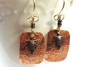 Etched Copper Earrings, Leaf Earrings
