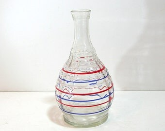 Vintage Decanter, Red and Blue Striped Glass Bottle