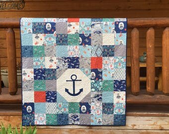 Quilt Baby Boy Nursery Bedding Crib Harbour Side Lewis Irene Anchor Appliqué Nautical Boats Anchors Ocean Harbor Lobsters piecesofpine