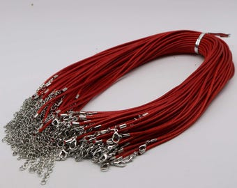 NEW 10pcs 2.0mm 18-20 inch Adjustable compressed cotton quality necklace cord - Red