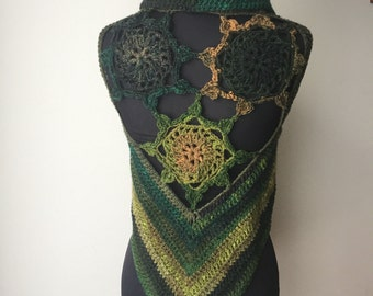 Crochet Pixie Fae Gypsy Wool Sun Mandala Vest Waistcoat Multicolored brown green forest colours Burning Man Festival Fae Fairy Ready to Ship