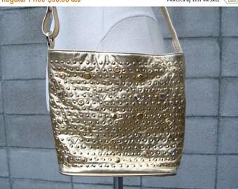 Studded Leather Purse Vintage 1980s Gold Studs Gems Jeweled