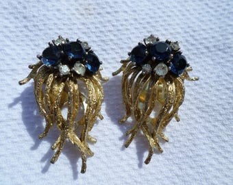 925 HE sterling silver gold plate prong set saphire crystals ear cuff clip on vintage earrings mcm