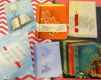 Open Book for Christmas Cards Shaped Like a Book Featuring a Book in Vintage Christmas Card Lot No 960 Total of 12