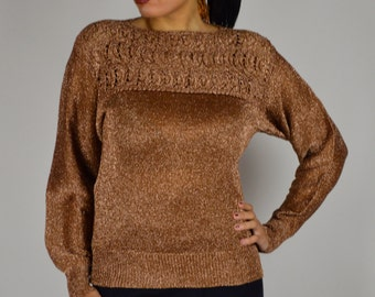 Holiday Sweater, Knit Sweater, Copper Sweater, Pull Over Sweater, Metallic Sweater, Vintage Sweater, 1980s Sweater,