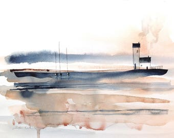 original watercolor painting - abstract with sailing boats and lighthouse cottages - indigo and copper