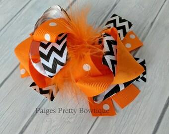 "5.5-6"" Orange & Black Chevron Funky Hair Bow-Over The Top Bow"