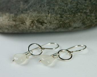 Moonstone Hoop Earrings Dainty Silver Dangles #EtsyGifts