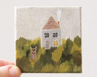 english cottage / original painting on canvas