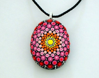 Autumn Holiday gift ideas under 50 mandala stones painted rocks pendant necklace sweetheart best friend unique 3D dot art yoga art neon glow