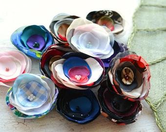 Fabric flowers, applique grab bag , handmade organza appliques, floral embellishments (12 pcs)- Grab Bag in Assorted Colors (mix set 355)