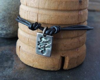 Leather Bracelet, Double Strand, Fine Silver Charms, Ancient Coin, Kanji Symbol, Purple Gemstones, Stacking Bracelet, Artisan Jewelry,