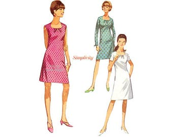 Easy A Line Dress Pattern, Simplicity 7011 Short or Long Sleeves or Sleeveless Dress Vintage Sewing Pattern, Uncut