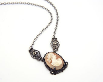 VINTAGE Art Deco Sterling Silver Cameo & Marcasite Pendant Necklace - 1930s Carved Shell Woman Lady Profile Silhouette Jewelry