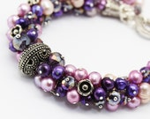 Purple Bracelet, Pearl Crystal Bracelet, Statement Bracelet, Pink Violet Purple Freshwater Pearl Bracelet, Bridal Evening Jewelry