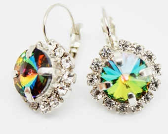 Colorful Crystal Earrings Silver, Emerald Green Blue Pink Rhinestone Swarovski Earring, Statement Luxury Jewelry, Bridal Bridesmaids Jewelry