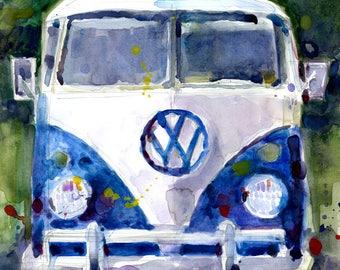 Original Print  OR Original Watercolor -  VW Van Father Day Special