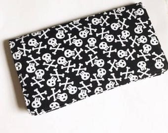 Black and White wallet / Skull and Crossbones Checkbook Cover