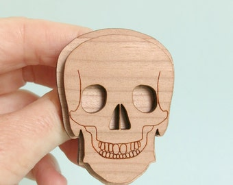 Skull Brooch Wooden 2 layer Laser Cut Anatomy Jewelry Medical Jewellery