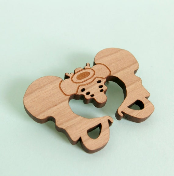 Pelvis Brooch Hip Bone Jewellery Anatomy Jewelry Skeleton Pin