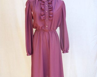 ON SALE 80s Plum Violet Secretary Dress size Medium Ruffled Bodice Jane Baar