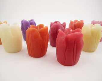 Set of 4 Beeswax Tulip Votive Candles