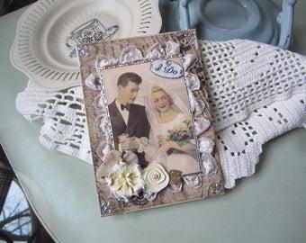 Handmade Wedding Card - Wedding Couple Card - Vintage Couple Card