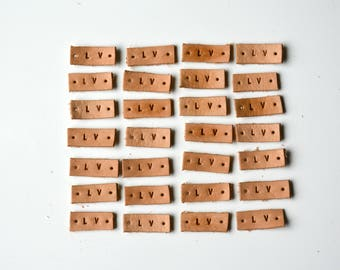 3/8'' Natural Leather Labels, 1-6 letters, 3 OZ Custom Leather Labels, stamped leather tag, embossed , create your own labels