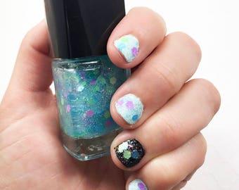 Neon Glitter Polish - Mermaid Nail Polish - Blue Glitter Polish - Mermaid Tears - Glitter Lacquer - Five Free - Cruelty Free - Vegan Polish