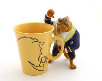 Beauty and the beast parody - beau- tea and the beast - upcycled tea mug in belle's yellow