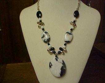 Hand made zebra jasper necklace