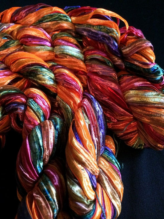 Nylon Knitting Ribbon : Nylon ribbon yarn quot party yard skeins from