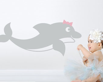 Swimming Dolphin Wall Decal Ocean Baby Nursery Under the Sea Kids Underwater Room Decor