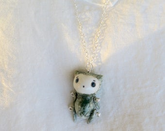 Cat Puppet Pendant 1 (with 925 sterling silver chain)
