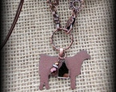 Rustic Metal Show Steer/Heifer/ Cattle Jewelry on Long Boho Style leather, Bead Chain Necklace Approx  31""