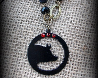 """Rustic Metal Show Hog, Pig Pendnat on Long Boho Style Necklace Approx 30"""""""