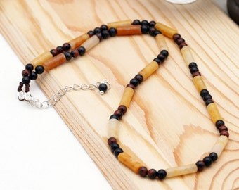 Strength and positiveness unisex necklace - mahogany obsidian and peach quartz
