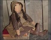 Primitive  hand embroidered folk art prairie doll hafair ofg rag doll handmade in USA faap lucys lazy dayz brown