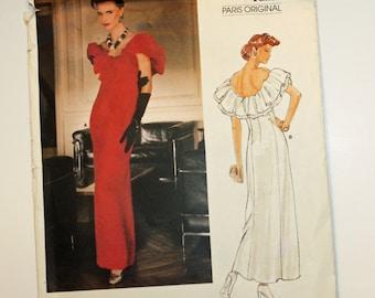 "Vintage 1980s, Sewing Pattern, Vogue 1374, Givenchy, Paris Original, Prom, Evening,  Dress Pattern, Misses' Size 10, Bust 32 1/2"", UNCUT, FF"