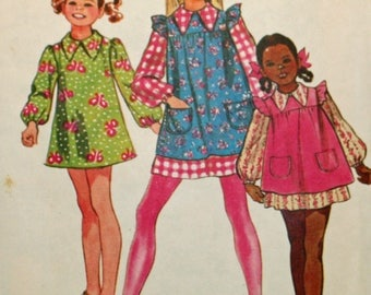 Vintage 1970s, Sewing Pattern, Simplicity 9843, Girls' Dress and Smock, Girls' Size 6, UNCUT Pattern, FF