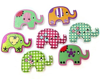Elephant Vintage Button - Funky Wooden Sew Through 1 1.8 inch for Jewelry Beads Sewing Knitting