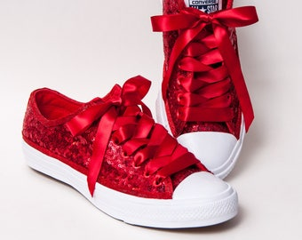 Tiny Sequin - Starlight Red Canvas Custom Converse II Low Top Sneakers Tennis Shoes with Satin Ribbon Laces