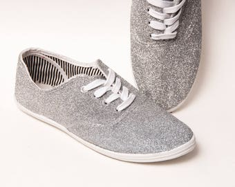 Glitter - CVO Silver Canvas Sneakers Shoes