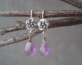 Amethyst Dangle Earrings - Silver Flower - Purple Amethyst Earrings - February Birthstone - Amethyst  Earrings - Purple Stone Earrings