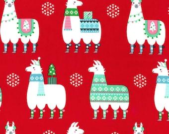 Michael Miller Fabric Llama Navidad Red- Llama, Alpaca on Red By The Yard! Cotton
