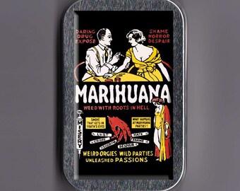 Vintage Marijuana Poster Stash Box Tin