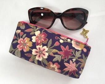 Japanese Flower Zipper Pouch / Eyeglass Case