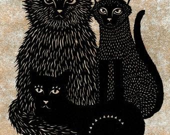 Original Cat Trio Papercutting