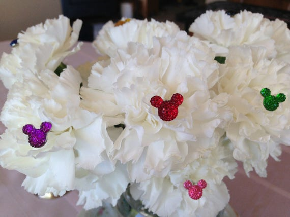 Disney Wedding 4 Hidden Mickey Ears Flower Pins  Bouquets Floral Pins Corsage Picks Multi Colors of Your Choice