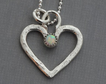 Little tiny sterling silver heart necklace pendant opal jewelry layered layering Valentine Mothers day romantic gift for her love necklace